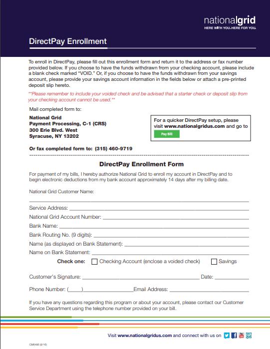 National Grid DirectPay Enrollment Form