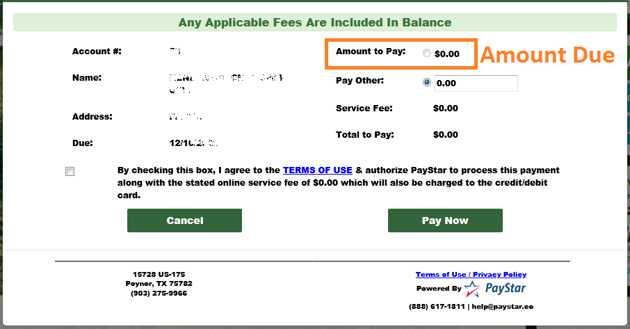 Poynor Water Bill Payment Status Check